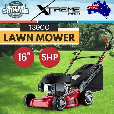"NEW 139CC Lawn Mower 4 Stroke Engine 16"" 5HP Petrol Push Lawnmower Baumr-AG"