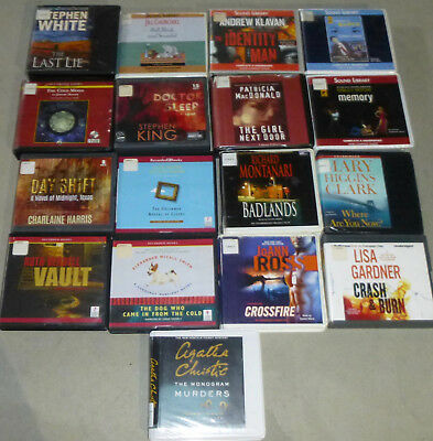 Lot of 17 Adult Mystery/thriller Unabridged audiobooks on CD; King, Clark, etc..