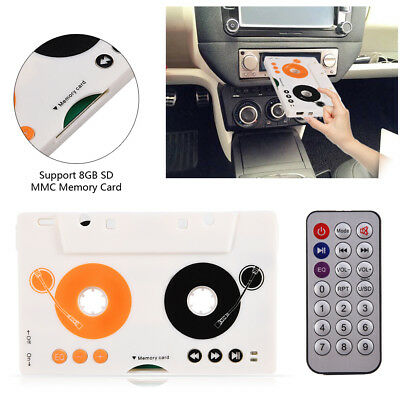 Car Tape Cassette SD MMC MP3 Player Adapter Kit With Remote Control Earphone TB