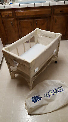 Arm's Reach Co-Sleeper portable with carrying case mini crib two wheels