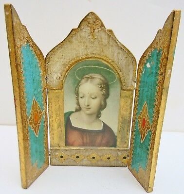 Vintage FLORENTINE Italian TRIPTYCH Madonna Gilt Gold Fold Out Icon ITALY