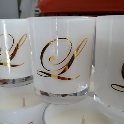 Personalised White Glass scented Soy Candles.Gr8 4 Bomboniere, Newborn souvenir.