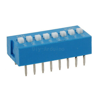 10PCS Blue  Slide Type Switch Module 2.54mm 8-Bit 8 Position Way DIP Pitch