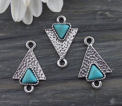 Triangle Connector Charms - 2/6/10pcs - Turquoise Boho Western Pendants  CH406