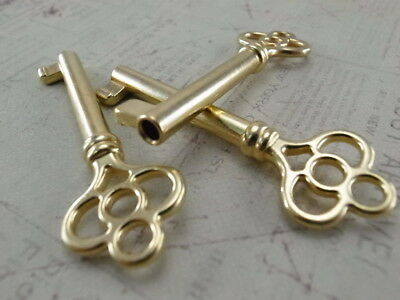 Vintage Style Open Barrel Skeleton Key Furniture Cabinet  Brass Color - 3 pcs