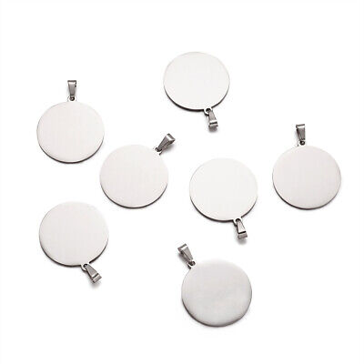 10pcs 304 Stainless Steel Tag Charms Stamping Blanks Pendants Round Bail 33x30mm