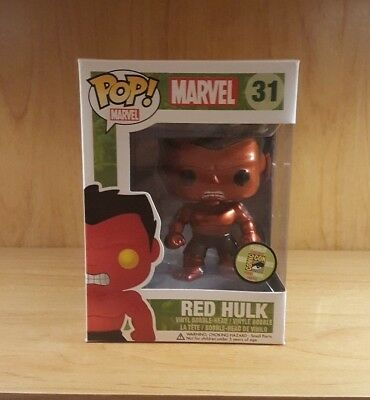 Funko Pop! #31 Red Hulk (Metallic) Sdcc Limited To 480 Pieces Rare Grail!