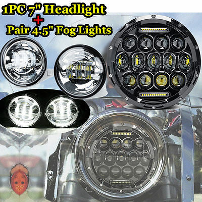 "1pc 7inch 75W Black LED Headlight+2pcs 4.5"" Silver Fog Light For Harley Davidson"