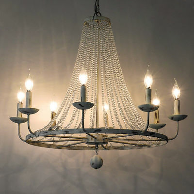 Vintage Candle-Shaped Light Crystal Bead Strand Large Chandelier Ceiling Fixture