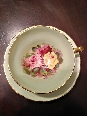 Stanley Pink Red Yellow Roses Gold Handle Mint Green Tea Cup And Saucer