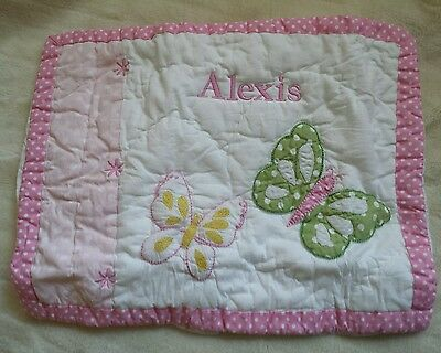 """Pottery Barn Baby Quilted sham pillow cover Pink  Monogram ALEXIS  12"""" X 16"""""""