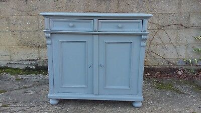 An Antique French Shabby Chic Painted Pine Sideboard Cupboard 2 drawers