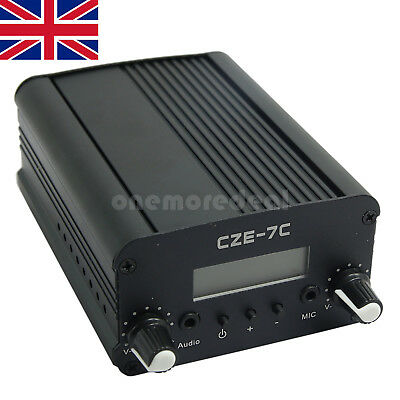 CZE-7C 1W/7W Stereo FM Transmitter Frequency Sender Radio Broadcast 76-108MHz UK