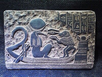ANCIENT EGYPTIAN ANTIQUE Thoth Boat Plaque Stela Fragment Relief 1570-1314 BC