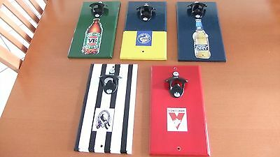 WALL MOUNTED  BOTTLE OPENER MANY DESIGNS  nrl afl beer and wine designs