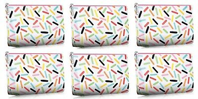 Clinique Makeup Rainbow White Sprinkles Bag Cosmetic Travel 4 Pc Set Lot