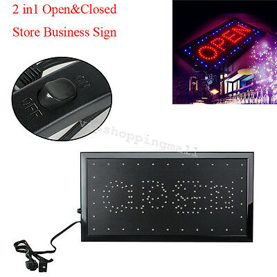 """LED 2in1 Open & Closed Store Shop Business Sign 9.8*18.9"""" Display Neon Nice"""