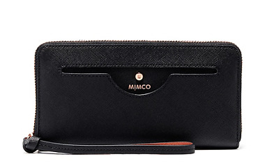 MIMCO Black PHENOMENA LARGE WALLET Rose Gold Hardware Authentic BNWT RRP$249