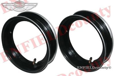 "Rim Units Pair 10"" Wheel Alloy Aluminium Black Tubeless Tyre Vespa Scooter @de"