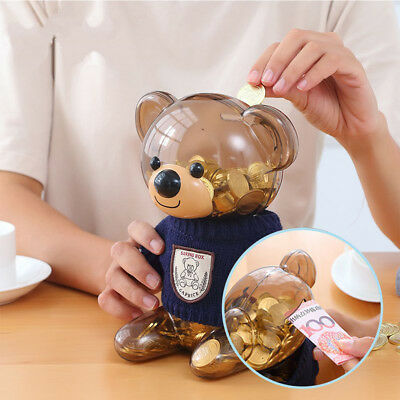 Children Piggy Bank Cartoon Bear Coins Cash Case Save Box Decorative Money Cans