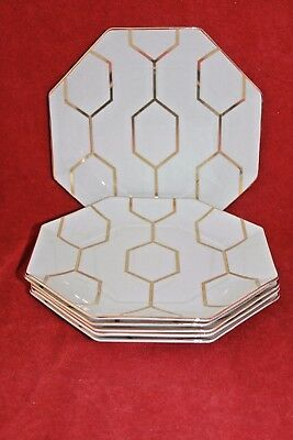Wedgwood ~ Arris Design ~ Octagonal Plates X 6 ~ White & Gold