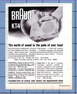 The  BRAUN KT4  (Pocket-Sized) TRANSISTER RADIO   (1962 Advertisement)