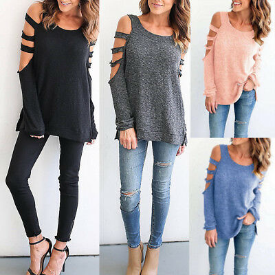 Plus 8-22 Women Casual Cold Shoulder Long Sleeve Tops Jumper Blouse T Shirt Tee