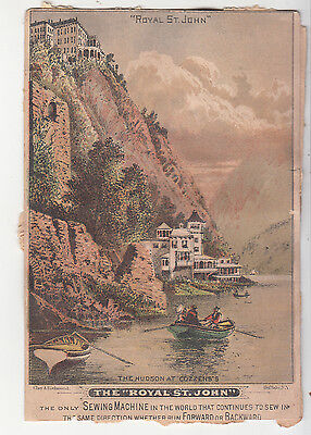 Royal St John Sewing Machine The Hudson River at Cozzens Victorian Card c 1880s