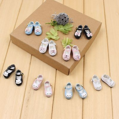 Cute Handmade 2.8cm Blyth Doll Shoes Icy Azone Mini Leather Cat Bowknot Style