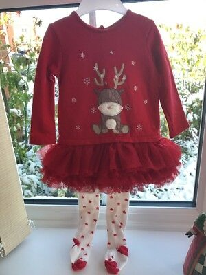 Girls 9-12 Months F&F Christmas Dress And Tights