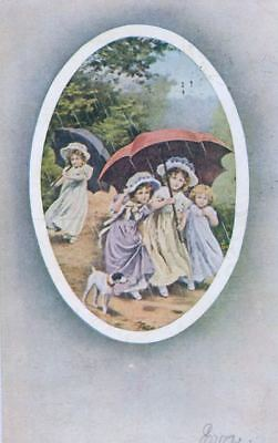 Old Postcard  Smooth Jack Russell / Fox Terrier Children Umbrella 1909 USA