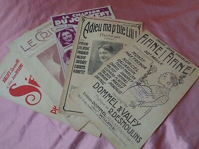 (Lot 3) 5 Vintage French Popular Art Deco Sheet Music Scores 1920, 1930s