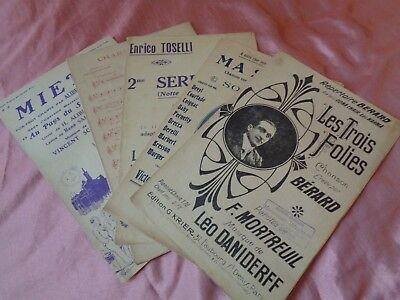(Lot 4) 5 Vintage French Popular Art Deco Sheet Music Scores 1920, 1930s