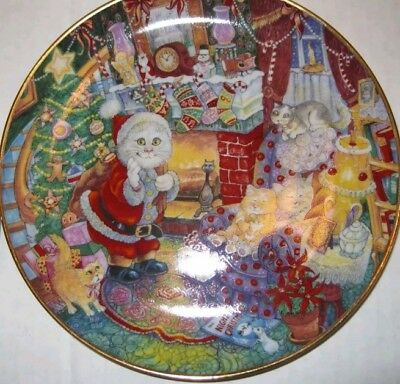 Christmas Kitty Cats Plate Bob Bell Not A Creature Was Stirring Santa Kittens