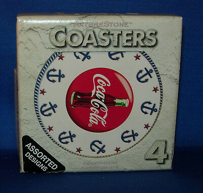 Coca Cola Coasters Nautical Collection (4) Nature Stone with Cork Backing O248FS