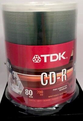 TDK CD-R Blank Recordable Disc CD, 700 MB, 80 min, 48x, 100PK Brand New Sealed