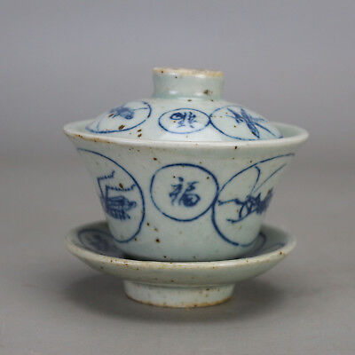 Chinese old hand-carved porcelain Blue & white insect pattern tureen