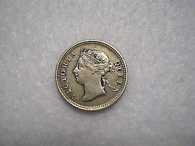 Hong Kong 1891 5 Cents Silver Coin in VF+ Victoria