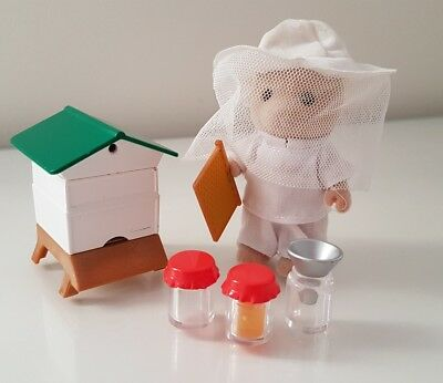 Rare sylvanian families beekeeper bear bee hive accessories hat honey jars