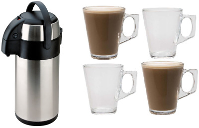 Large 3L S/Steel Pump Action Airpot Hot Tea Coffee Flask Free 4 Latte Glasses