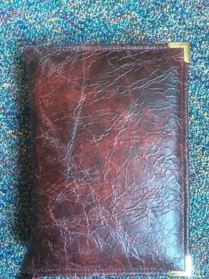 Genuine burgundy  and red leather bible cover for standard NW version (DLbi12-E)