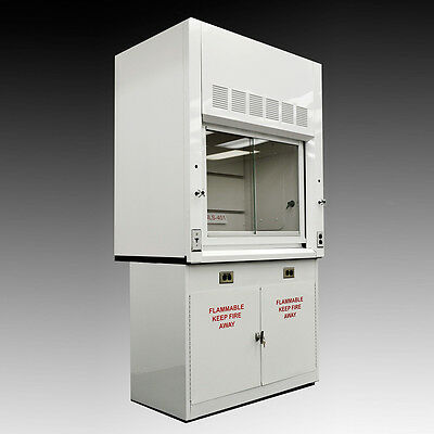 Chemical 4'  Fume Hood WITH Flammable Base Storage Cabinets WHITE