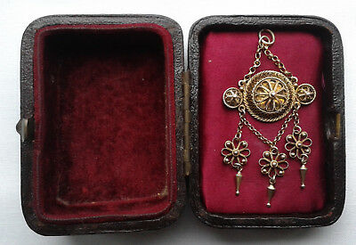 Antique 1900 Marius Hammer Norwegian Silver Gilt 830S Solje Wedding Pendant +Box