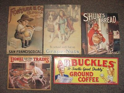 Lot of 5 Vintage Tin Sign Retro Decor-Reproductions