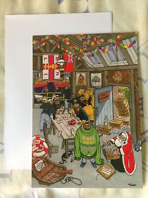 Giles Christmas Card for RNLI features Santa & man in sweater Collectable Unused
