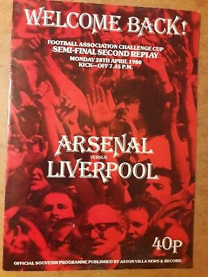1980 THE 2nd REPLAY PROGRAMME @ Villa Park : LIVERPOOL v ARSENAL : FA CUP S/F