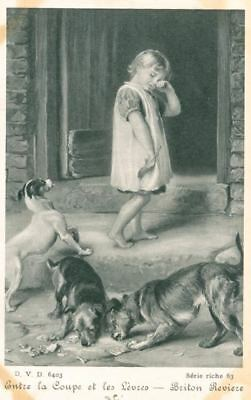 Vintage Postcard Jack Russell Dog & Little Girl Belgium 1909 Serie Riche