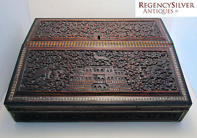 Beautiful Antique 19th-century Anglo Indian Table Writing Slope Box Victorian
