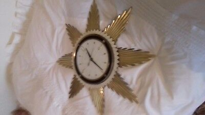 "Vintage Metamec Gold Metal Sunburst / Starburst Wall Clock. 18"" diameter"