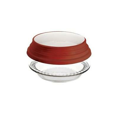 NEW Anchor Hocking 11461 9.5 in. Deep Pie w/Wide Fluted Edge and Red Expandable